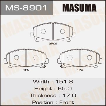 MASUMA MS8901 | Колодки дисковые MASUMA ACCORD/V2400 front (1/12) | Купить в интернет-магазине Макс-Плюс: Автозапчасти в наличии и под заказ