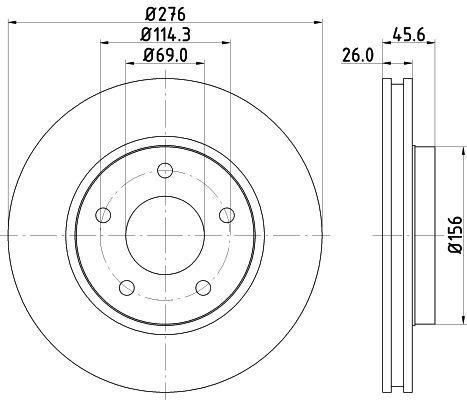MINTEX MDC2225   Диск тормозной передний вентилируемый   Купить в интернет-магазине Макс-Плюс: Автозапчасти в наличии и под заказ