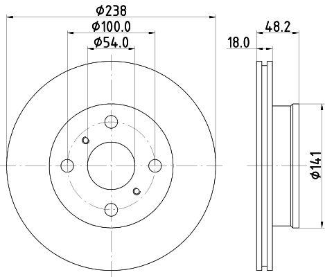MINTEX MDC726 | Диск тормозной передний вентилируемый | Купить в интернет-магазине Макс-Плюс: Автозапчасти в наличии и под заказ