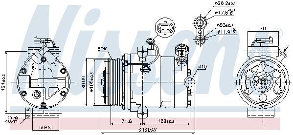 NISSENS 89196 | Компрессор кондиционера OPEL ASTRA G -05 177см3 шкив 120мм | Купить в интернет-магазине Макс-Плюс: Автозапчасти в наличии и под заказ