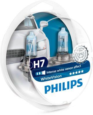 PHILIPS 12972WHVSM | Лампа галогеновая H7 WhiteVision +60% 3700K 12V 55W PX26d | Купить в интернет-магазине Макс-Плюс: Автозапчасти в наличии и под заказ