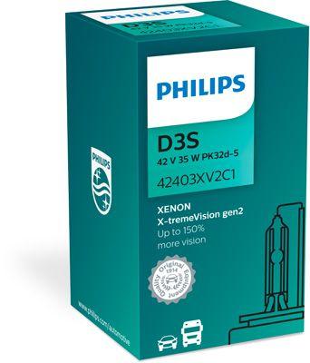 PHILIPS 42403XV2C1 | Лампа ксеноновая D3S X-TremeVision gen2 +150% 42V 35W PK32d-5 C1 | Купить в интернет-магазине Макс-Плюс: Автозапчасти в наличии и под заказ