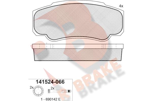 R BRAKE RB1524066 | Дисковые тормозные колодки R BRAKE | Купить в интернет-магазине Макс-Плюс: Автозапчасти в наличии и под заказ
