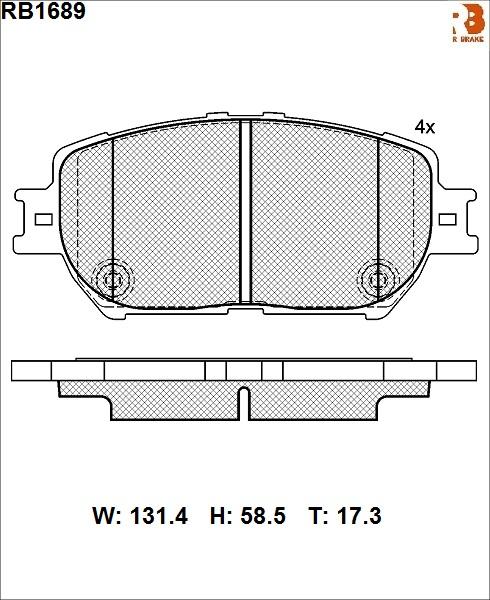 R BRAKE RB1689   Дисковые тормозные колодки R BRAKE   Купить в интернет-магазине Макс-Плюс: Автозапчасти в наличии и под заказ