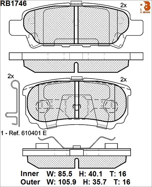 R BRAKE RB1746   Дисковые тормозные колодки R BRAKE   Купить в интернет-магазине Макс-Плюс: Автозапчасти в наличии и под заказ
