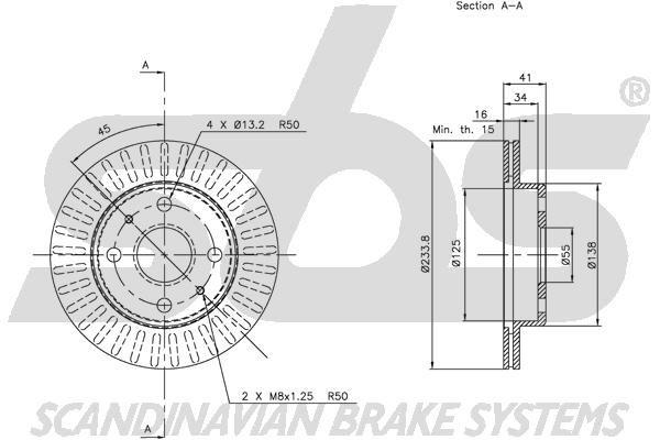 SBS 1815205111 | Диск тормозной передний | Купить в интернет-магазине Макс-Плюс: Автозапчасти в наличии и под заказ