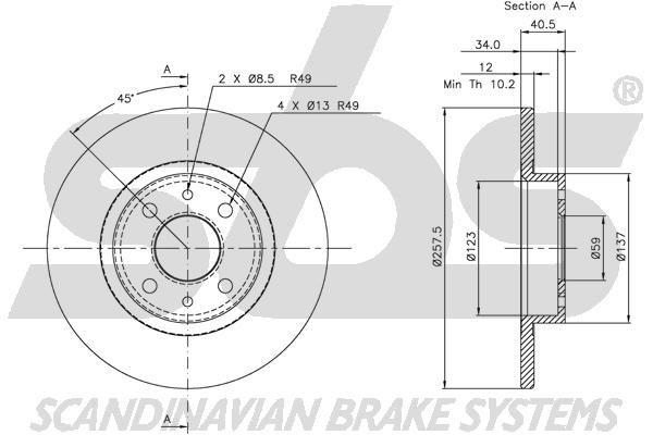 SBS 1815209932 | 209932 #_диск тормозной передний!Alfa Romeo 146/155,Fiat Brava/Tempra 1.4-1.9TD 88 | Купить в интернет-магазине Макс-Плюс: Автозапчасти в наличии и под заказ