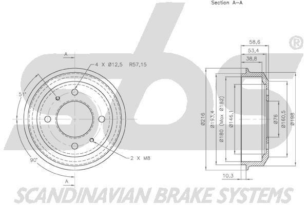 SBS 1825253404 | 253404_барабан тормозной! Hyundai Accent 1.3-1.6 94 | Купить в интернет-магазине Макс-Плюс: Автозапчасти в наличии и под заказ