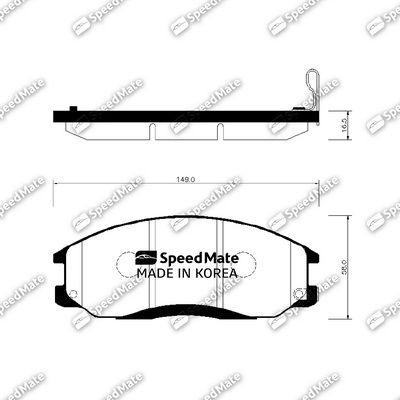 SPEEDMATE SMBPH021 | Колодки HYUNDAI SANTA FE (SM) (2001-2006)/SSANGYONG REXTON (GAB_)(2001-) | Купить в интернет-магазине Макс-Плюс: Автозапчасти в наличии и под заказ