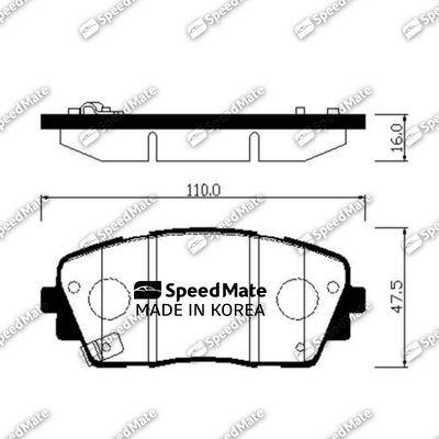 SPEEDMATE SMBPK039 | Колодки передние SpeedMate SMBPK039/581011YA10 | Купить в интернет-магазине Макс-Плюс: Автозапчасти в наличии и под заказ