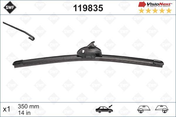 SWF 119835 | Щетка стеклоочистителя VISIONEXT бескаркасная 350/14` (крючок) | Купить в интернет-магазине Макс-Плюс: Автозапчасти в наличии и под заказ