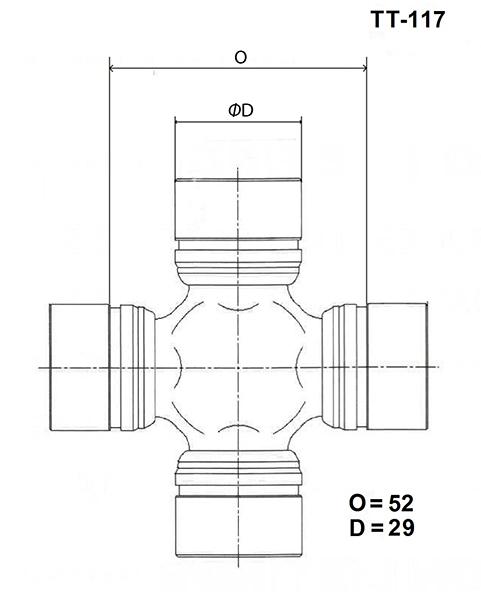 TOYO TT117 | Крестовина карданного вала TOYO | Купить в интернет-магазине Макс-Плюс: Автозапчасти в наличии и под заказ