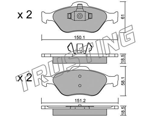 TRUSTING 3250 | К-т дисков. тормоз. колодок Ford Fiesta 1.3-1.6, 1.4TDCi, 1.8Di 01- П | Купить в интернет-магазине Макс-Плюс: Автозапчасти в наличии и под заказ