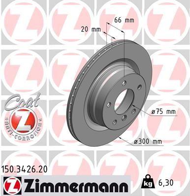 ZIMMERMANN 150342620 | Диск тормозной | Купить в интернет-магазине Макс-Плюс: Автозапчасти в наличии и под заказ