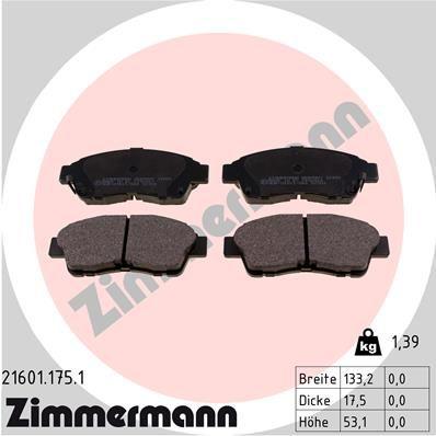 ZIMMERMANN 216011751 | Колодки тормозные дисковые к-т Toyota | Купить в интернет-магазине Макс-Плюс: Автозапчасти в наличии и под заказ