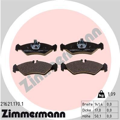 ZIMMERMANN 216211701 | Комплект тормозных колодок, дисковый тормоз | Купить в интернет-магазине Макс-Плюс: Автозапчасти в наличии и под заказ