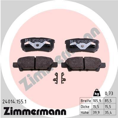 ZIMMERMANN 240141551 | Колодки тормозные дисковые к-т Chrysler, Jeep, Dodge, Mitsubish | Купить в интернет-магазине Макс-Плюс: Автозапчасти в наличии и под заказ