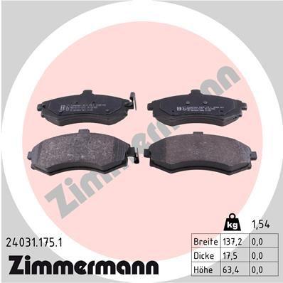ZIMMERMANN 240311751 | Колодки тормозные дисковые к-т Hyundai, Kia | Купить в интернет-магазине Макс-Плюс: Автозапчасти в наличии и под заказ