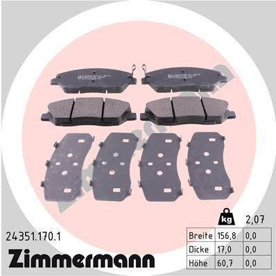 ZIMMERMANN 243511701 | Комплект тормозных колодок, дисковый тормоз | Купить в интернет-магазине Макс-Плюс: Автозапчасти в наличии и под заказ