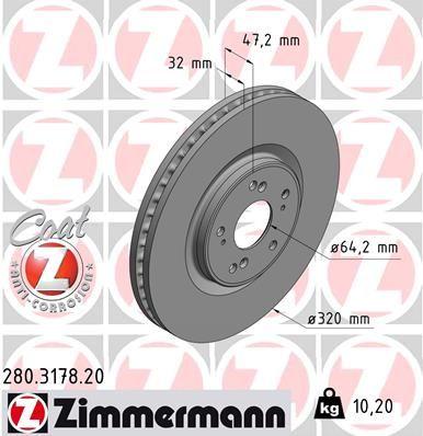 ZIMMERMANN 280317820 | Диск тормозной | Купить в интернет-магазине Макс-Плюс: Автозапчасти в наличии и под заказ